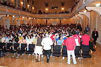 Crowd in hall